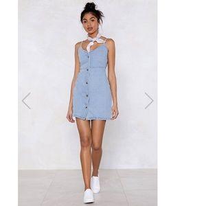 Nasty Gal Collection Denim Button Down Dress SZ 4